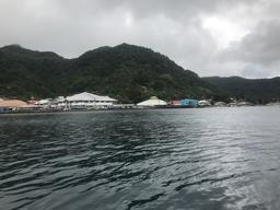 Pago Pago Harbor as we motor in for check-in.