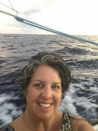 Selfie of Rosie at dawn enroute to American Samoa.