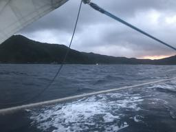 Tutuila at sunset as we approach Pago Pago Harbor.